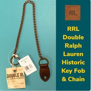NWT{Double RL / RRL} Brass & Leather Key Fob Chain